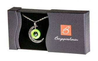 Halskette Damen - Halbmond versilbert, Scheibe grün